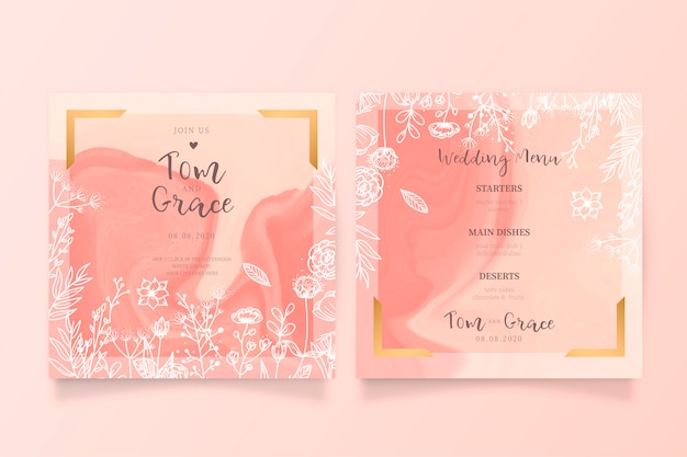 Invitación de boda floral hermosa y plantilla de menú
