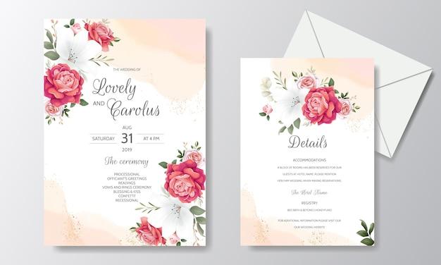 Invitación de boda floral hermosa con rosas florecientes y hojas verdes