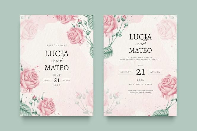 Invitación de boda floral hermosa