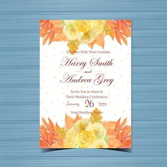 Invitación de boda floral con hermosas rosas amarillas
