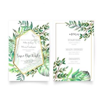 Invitación de boda floral con hojas de acuarela