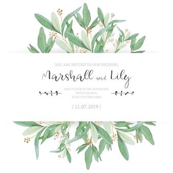 Invitación de boda floral con hojas ornamentales