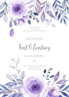 Invitación de boda floral lista para imprimir