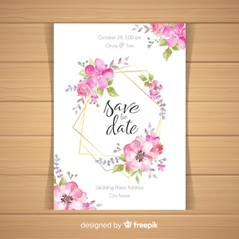 Invitación de boda floral con marco dorado