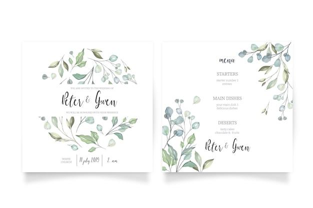 Invitación de boda floral con menú