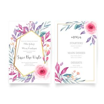 Invitación de boda floral con naturaleza acuarela