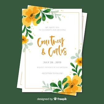Invitación de boda floral pintada a mano
