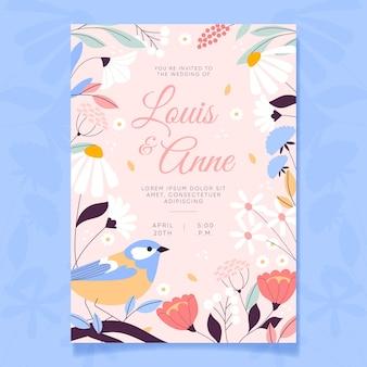 Invitación de boda floral plana orgánica