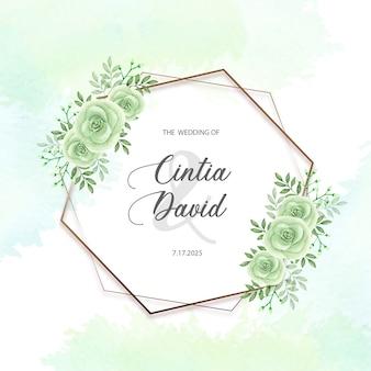 Invitación de boda floral plantilla de marco de rosa verde