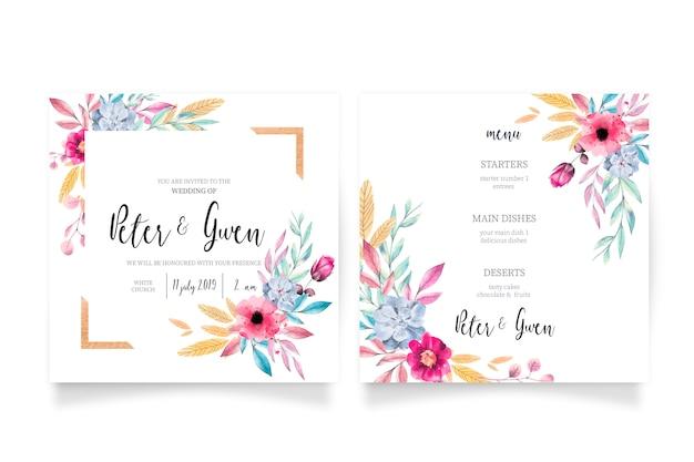 Invitación de boda floral y plantilla de menú