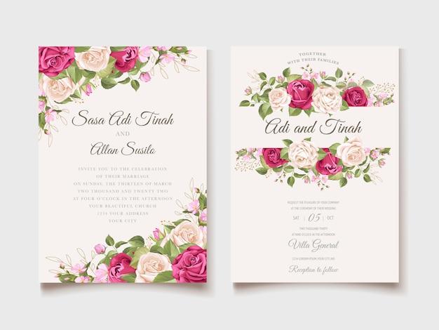 Invitación de boda floral y plantilla de tarjeta de hojas