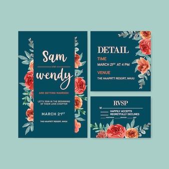 Invitación de boda floral resplandor de ascuas con rosa, hojas ilustración acuarela.