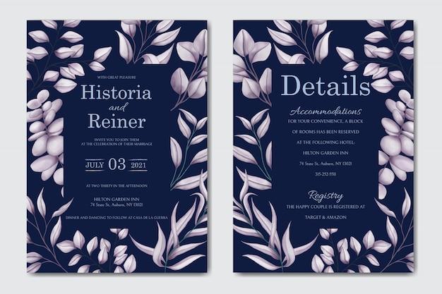 Invitación de boda floral retro sobre fondo oscuro