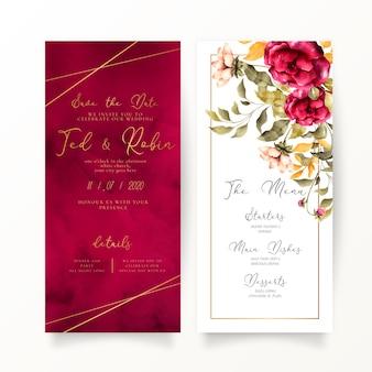 Invitación de boda floral y roja y plantilla de menú