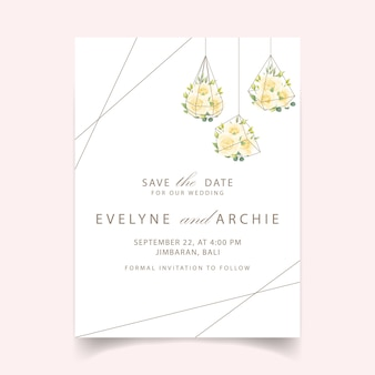 Invitación de boda floral con rosa blanca en terrario.