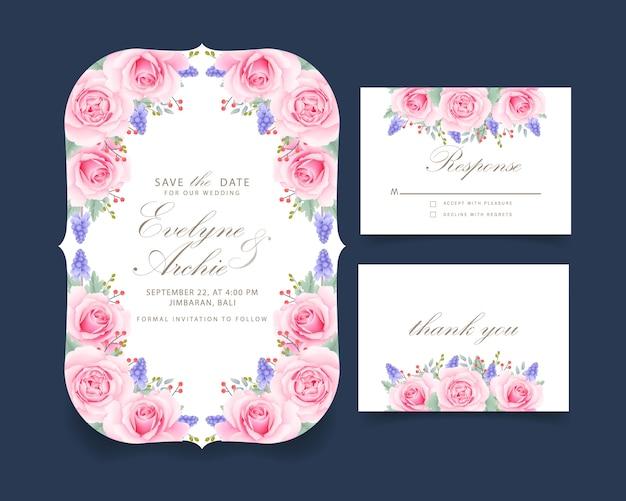 Invitación de boda floral con rosa rosa y flor de muscari.