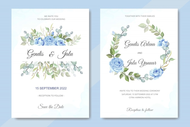 Invitación de boda floral con rosas azules
