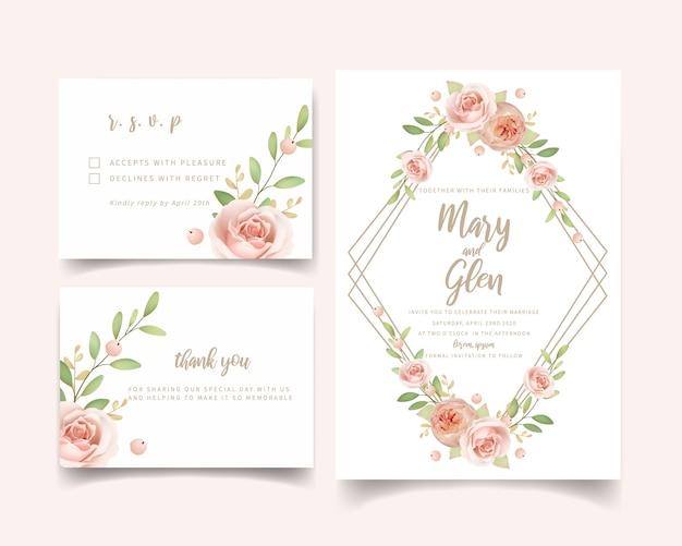Invitación de boda floral con rosas de jardín florales