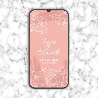 Invitación de boda floral en smarthphone