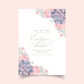Invitación de boda floral con suculentas.