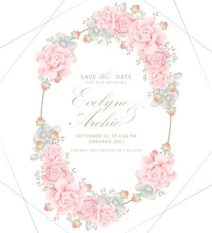 Invitación de boda floral con suculentas