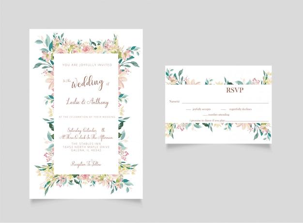 Invitación de boda floral y tarjeta rsvp