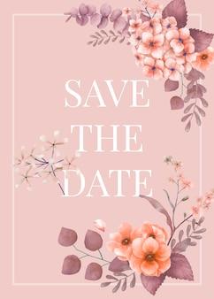 Invitación de boda floral temática rosa