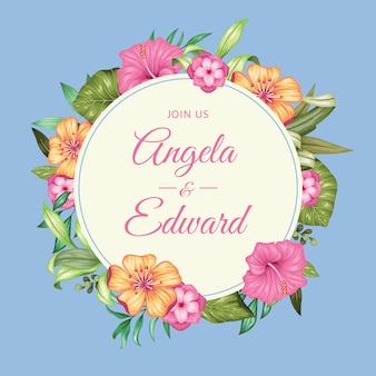 Invitación de boda floral vintage