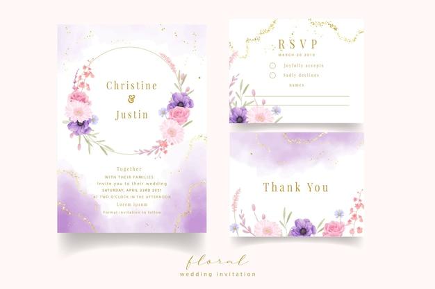 Invitación de boda con flores acuarela rosa, anémona y gerbera
