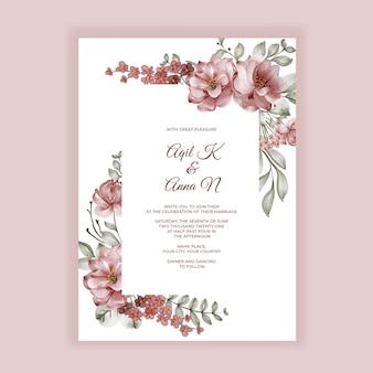 Invitación de boda de flores de acuarela de rosas de borgoña