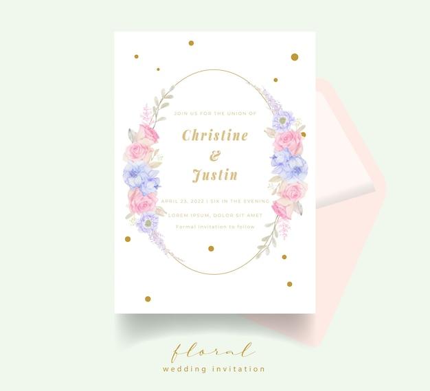 Invitación de boda con flores de acuarela