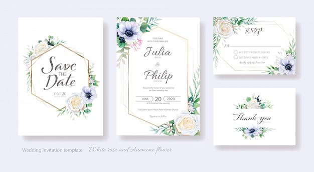 Invitación de boda de flores, ahorre la fecha, gracias, plantilla de tarjeta rsvp.
