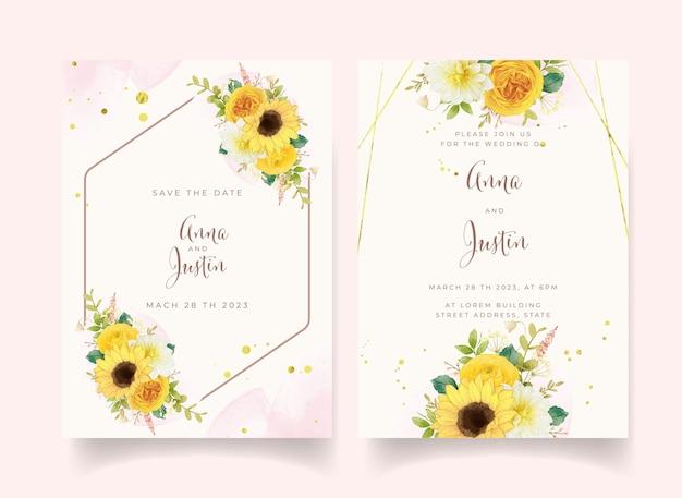 Invitación de boda con flores amarillas acuarelas