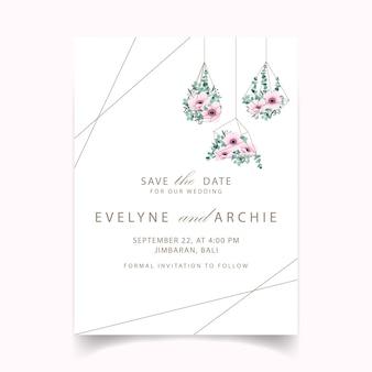 Invitación de boda con flores de anémona y eucalipto.