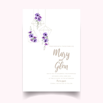 Invitación de boda con flores de anémona floral