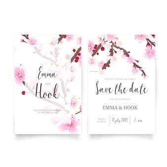 Invitación de boda con flores de cerezo en flor