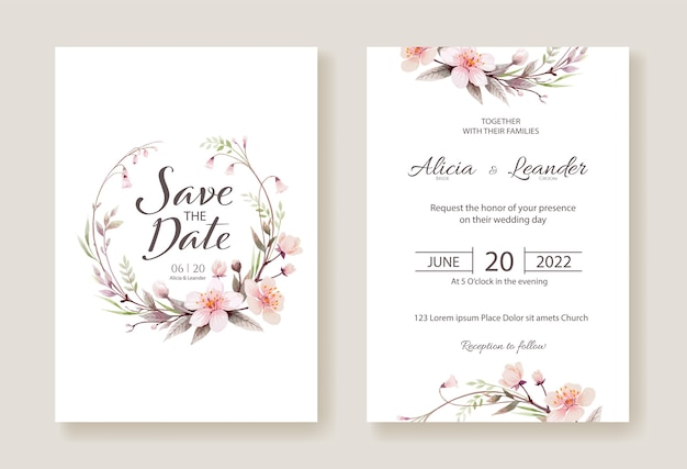 Invitación de boda de flores de cerezo, guarde la plantilla de tarjeta de fecha.