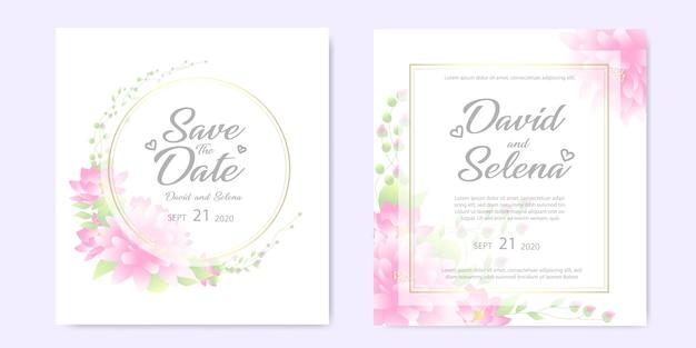 Invitación de boda con flores de color rosa