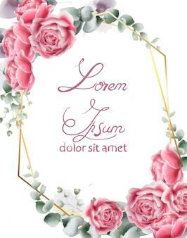 Invitación de boda con flores color de rosa