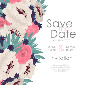 Invitación de boda con flores de colores.