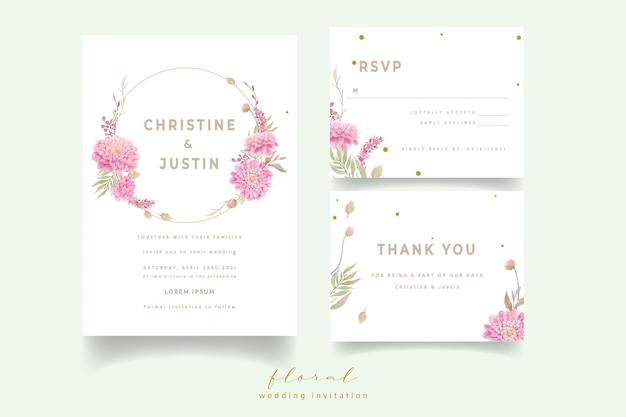 Invitación de boda con flores de dalias en acuarela