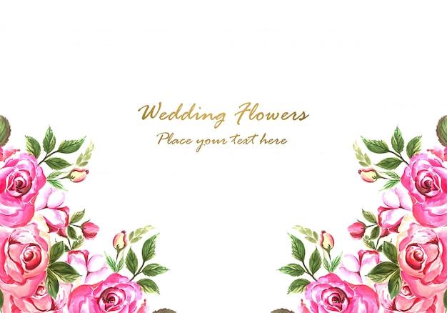 Invitación de boda flores decorativas diseño de tarjeta
