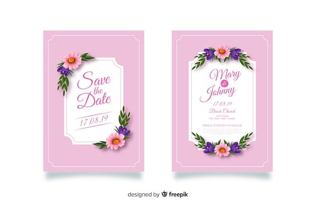Invitación de boda con flores dibujadas
