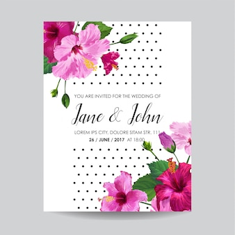 Invitación de boda con flores. guardar la tarjeta de fecha