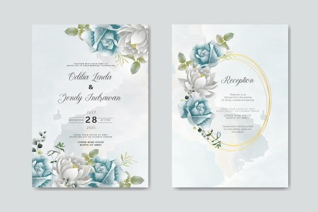 Invitación de boda con flores hermosas y elegantes.