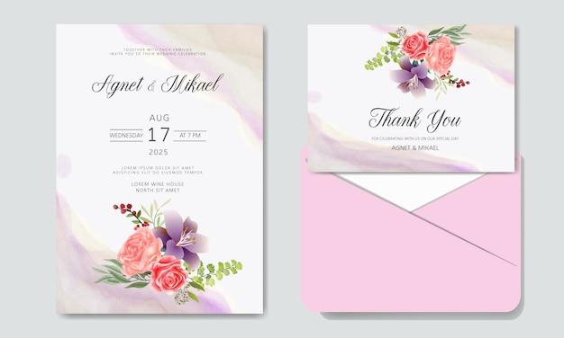Invitación de boda con flores hermosas y románticas.