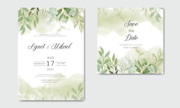 Invitación de boda con flores hermosas y verdes