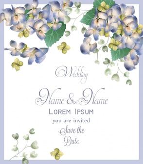 Invitación de boda con flores de hortensia de primavera acuarela