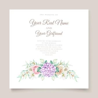 Invitación de boda con flores de hortensias acuarelas