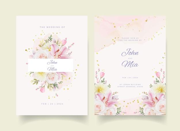 Invitación de boda con flores de lirio y dalia de rosas acuarelas